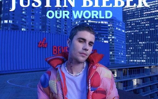 Poster för dokumentären Justin Bieber: Our World. På bilden ses Justin Bieber på ett tak, iklädd dunjacka. Foto: Amazon Prime